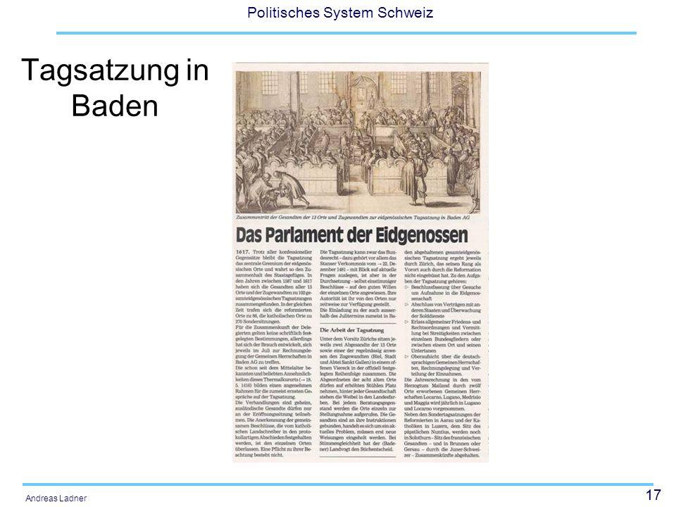 Tagsatzung in Baden