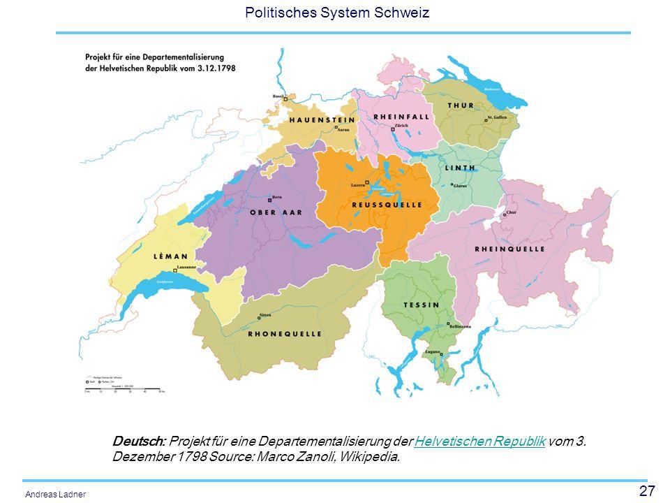 Deutsch: Projekt für eine Departementalisierung der Helvetischen Republik vom 3.