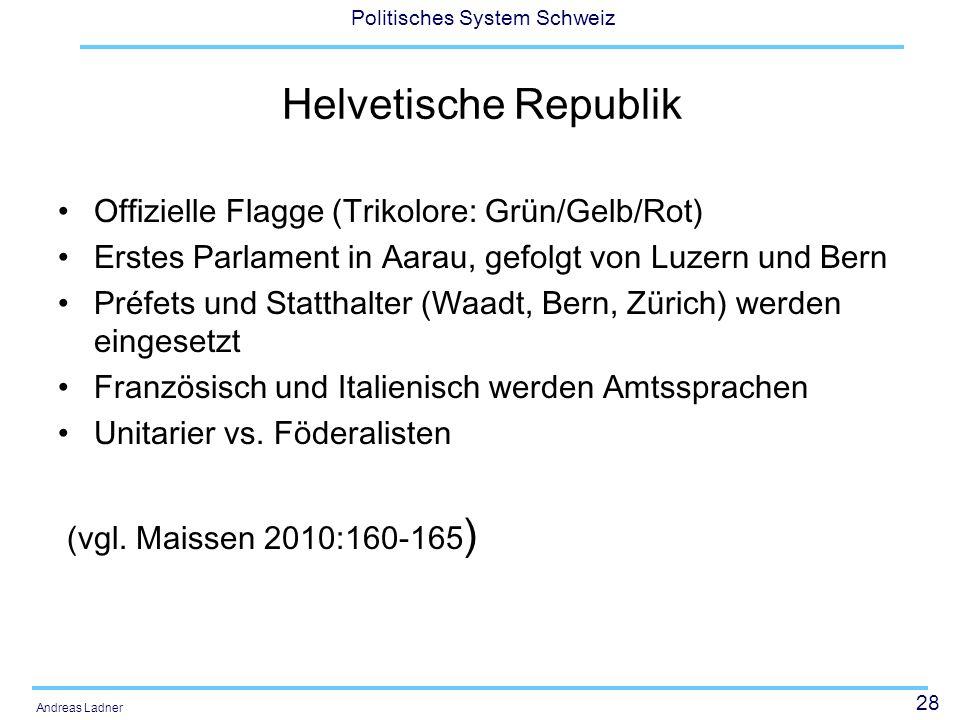 Helvetische Republik Offizielle Flagge (Trikolore: Grün/Gelb/Rot)