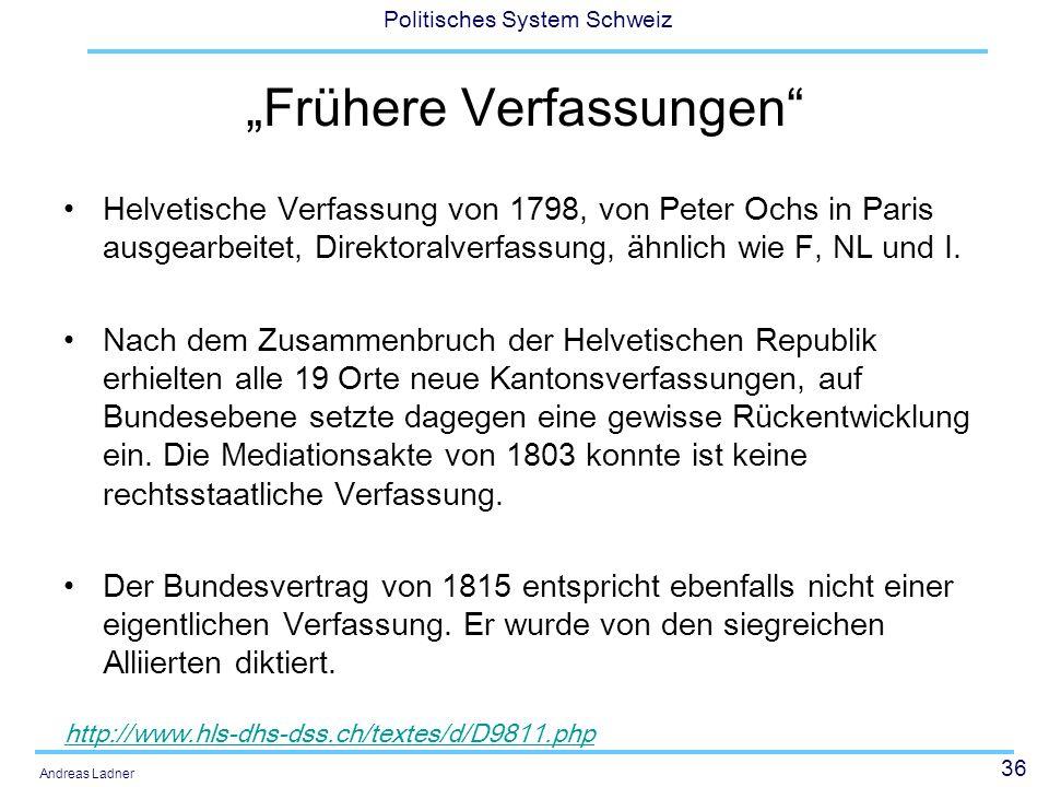 """""""Frühere Verfassungen"""