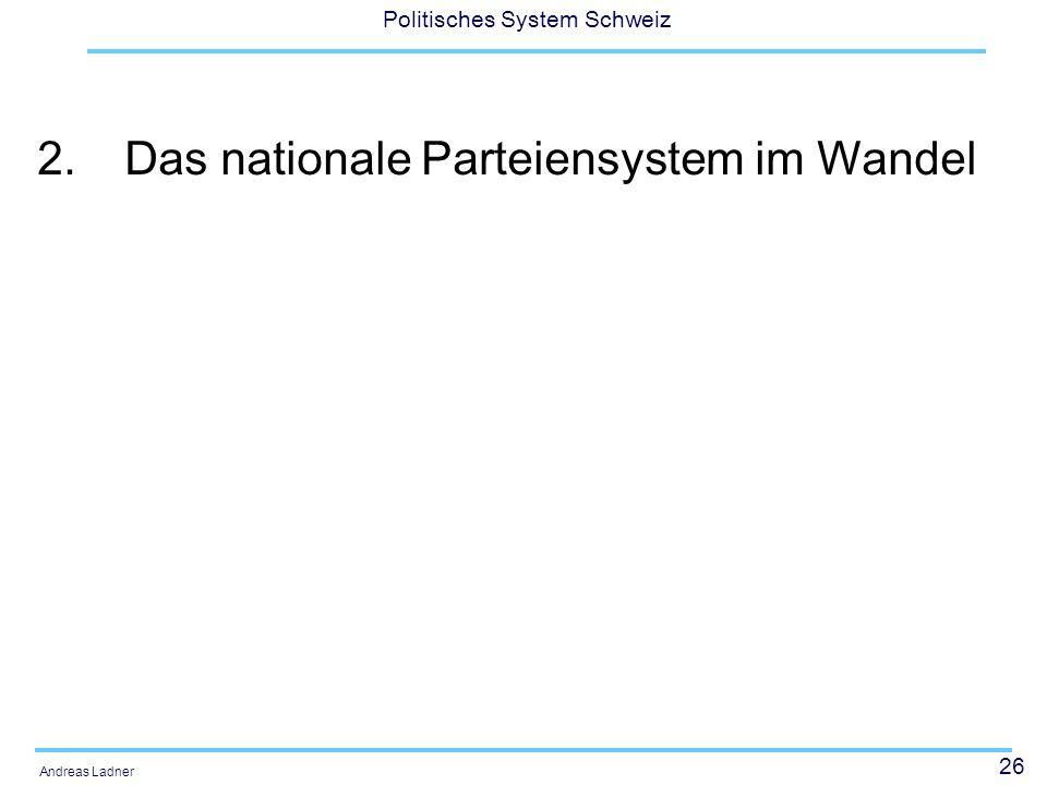 2. Das nationale Parteiensystem im Wandel