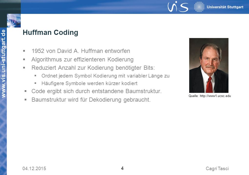 Huffman Coding 1952 von David A. Huffman entworfen