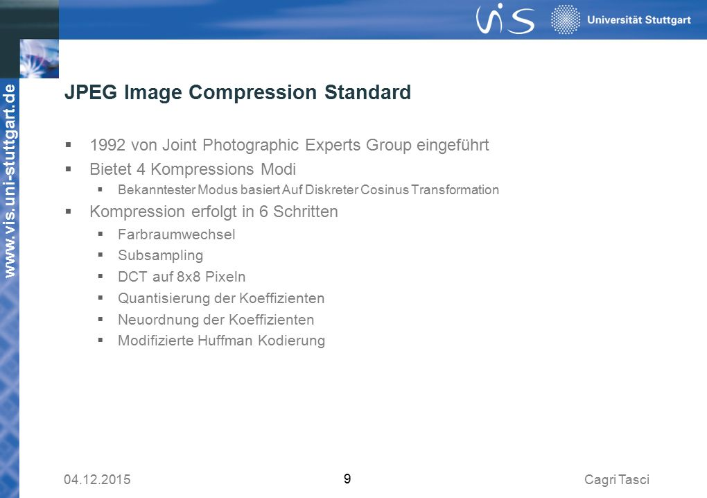 JPEG Image Compression Standard
