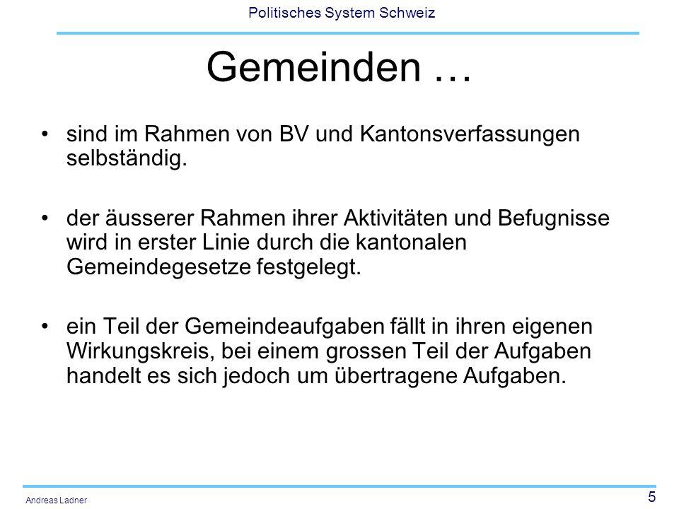 Gemeinden … sind im Rahmen von BV und Kantonsverfassungen selbständig.