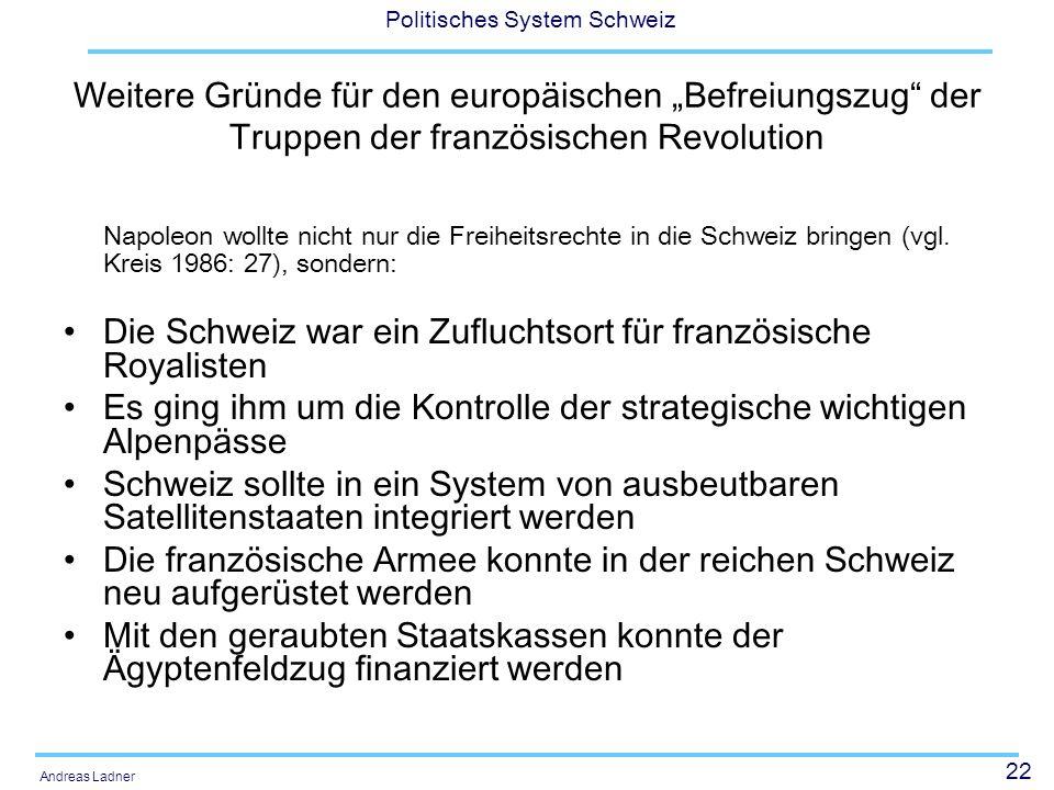"""Weitere Gründe für den europäischen """"Befreiungszug der Truppen der französischen Revolution"""