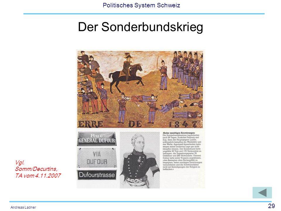 Der Sonderbundskrieg Vgl. Somm/Decurtins, TA vom 4.11.2007