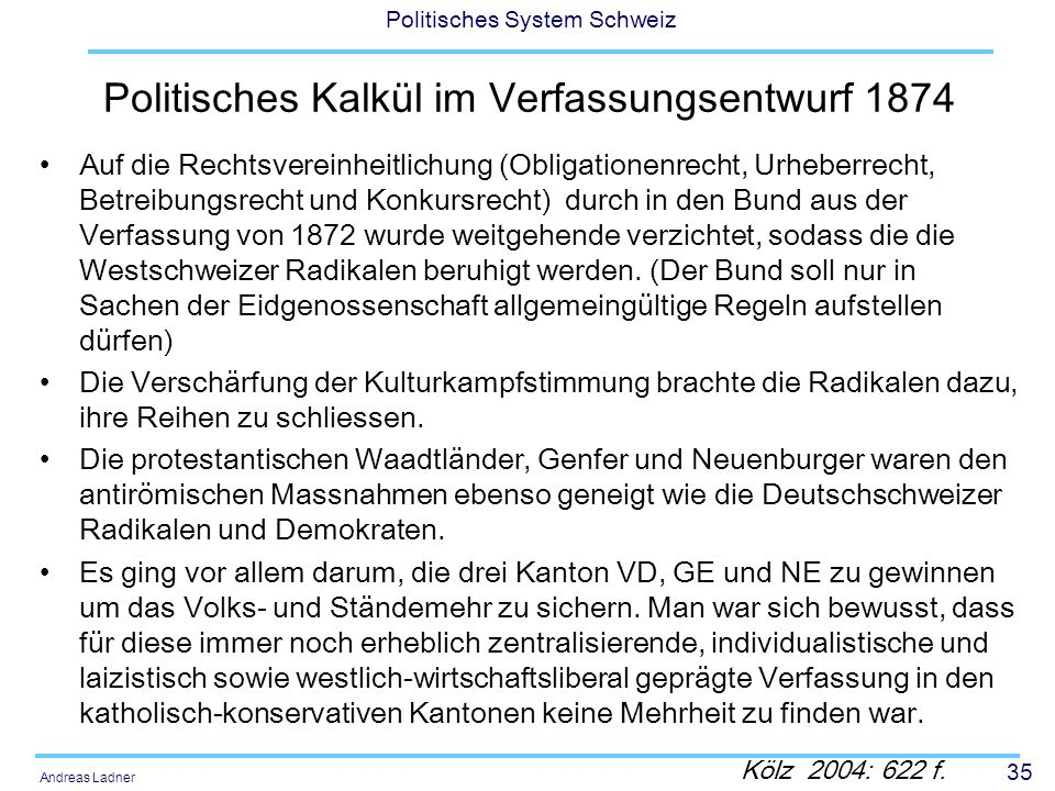 Politisches Kalkül im Verfassungsentwurf 1874