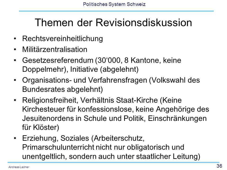 Themen der Revisionsdiskussion