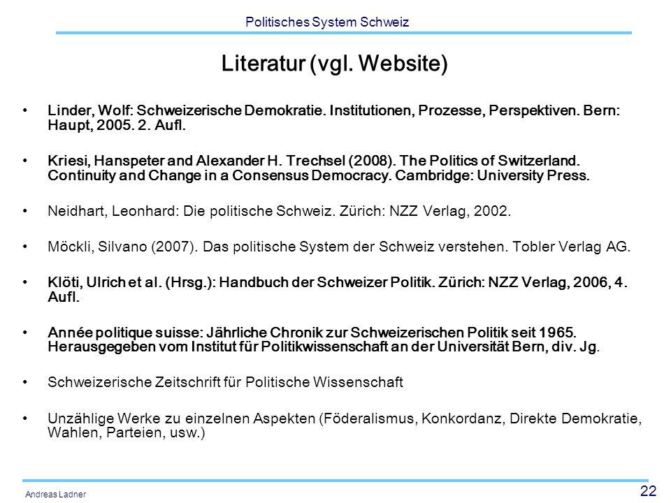 Literatur (vgl. Website)
