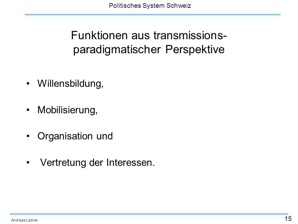 Funktionen aus transmissions-paradigmatischer Perspektive