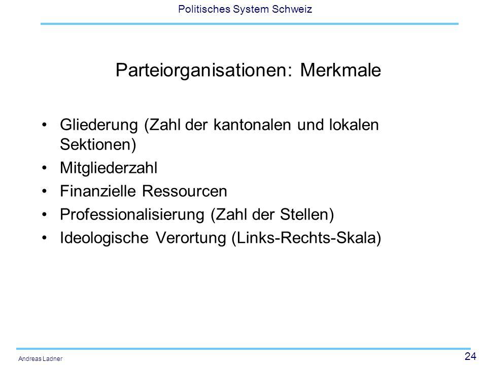 Parteiorganisationen: Merkmale
