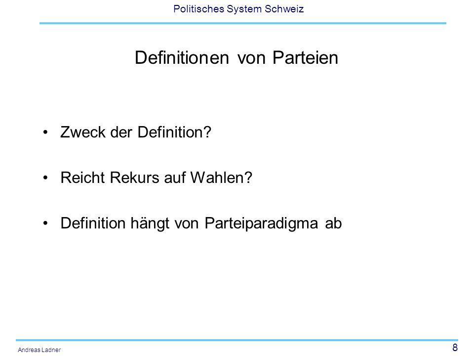 Definitionen von Parteien