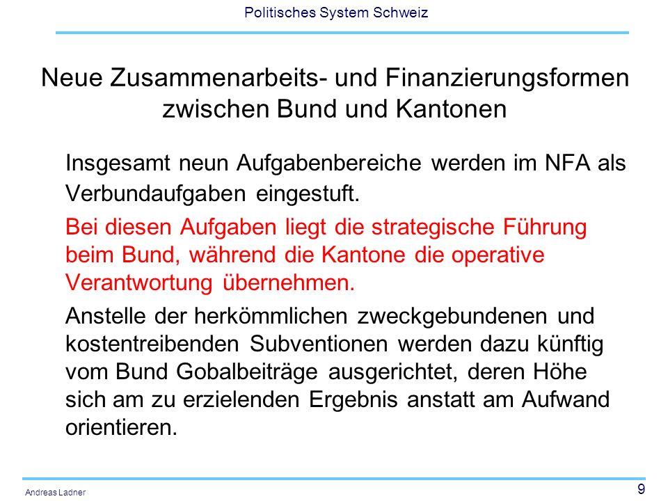 Neue Zusammenarbeits- und Finanzierungsformen zwischen Bund und Kantonen