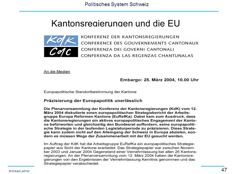 Kantonsregierungen und die EU