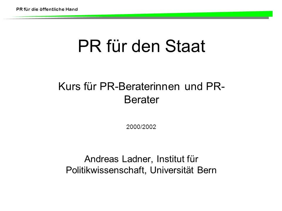 PR für den Staat Kurs für PR-Beraterinnen und PR-Berater