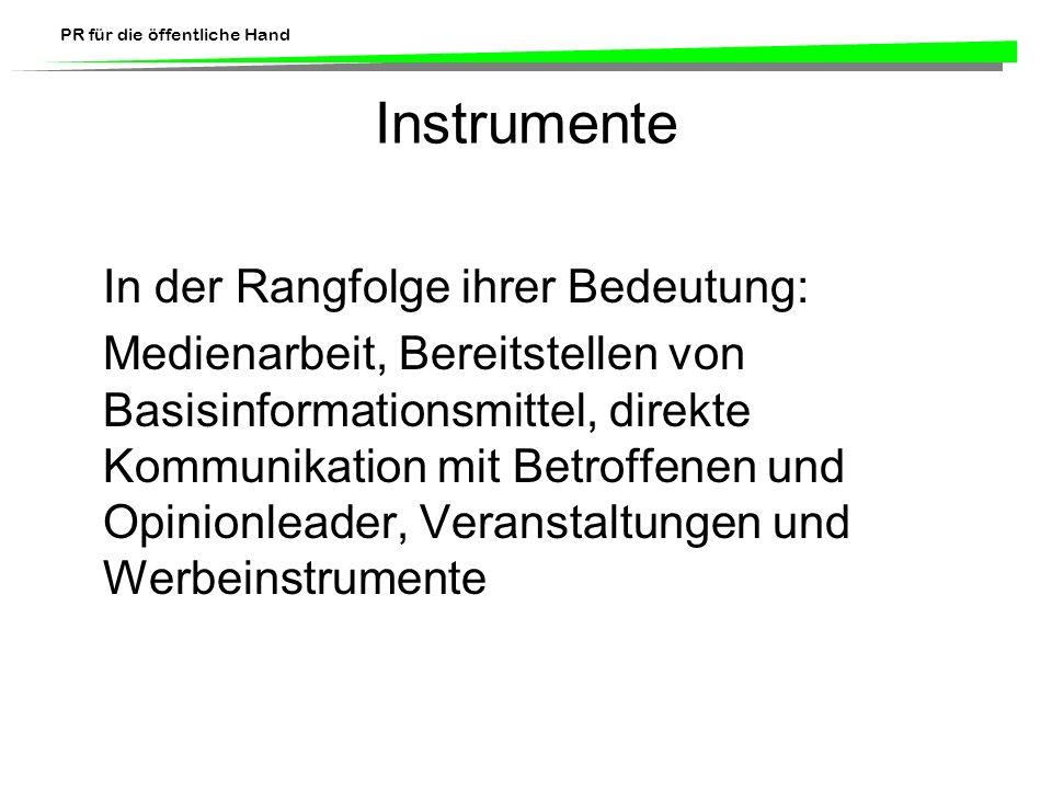 Instrumente In der Rangfolge ihrer Bedeutung:
