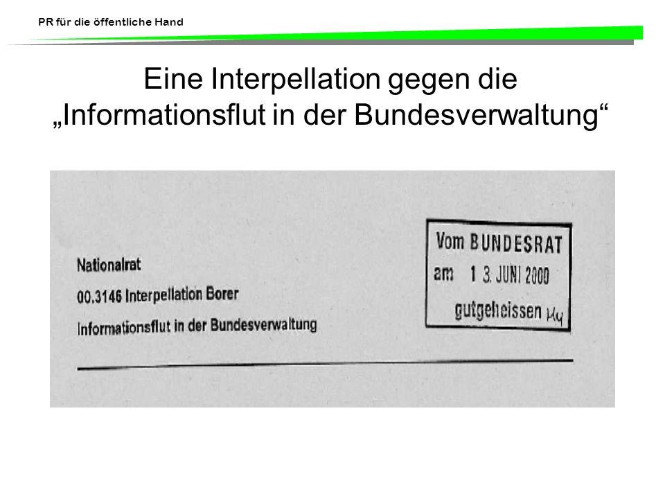 """Eine Interpellation gegen die """"Informationsflut in der Bundesverwaltung"""