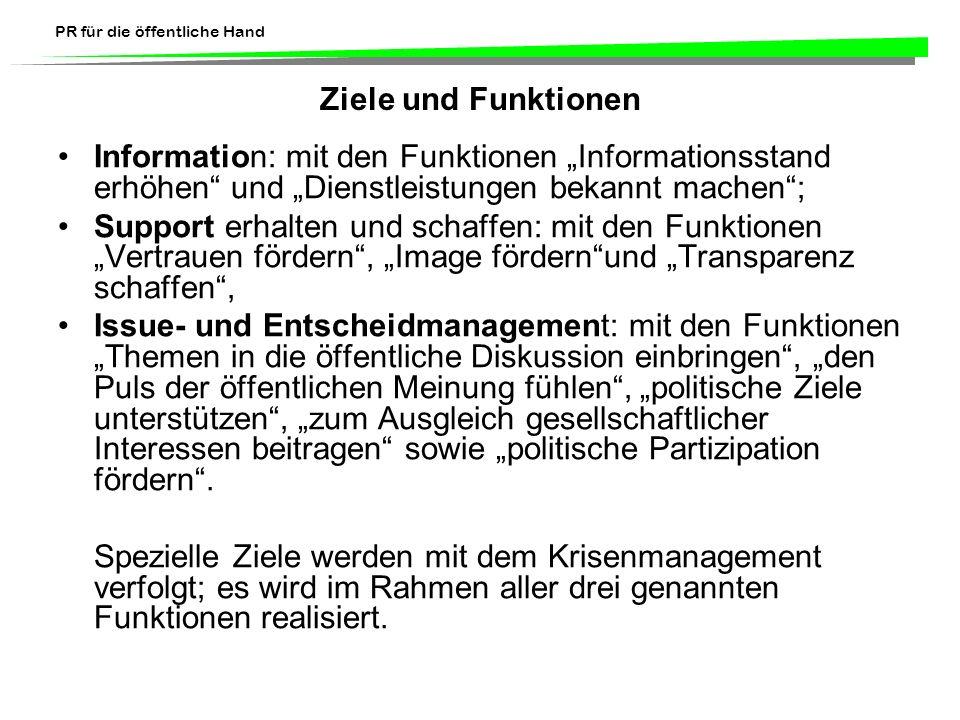 """Ziele und Funktionen Information: mit den Funktionen """"Informationsstand erhöhen und """"Dienstleistungen bekannt machen ;"""