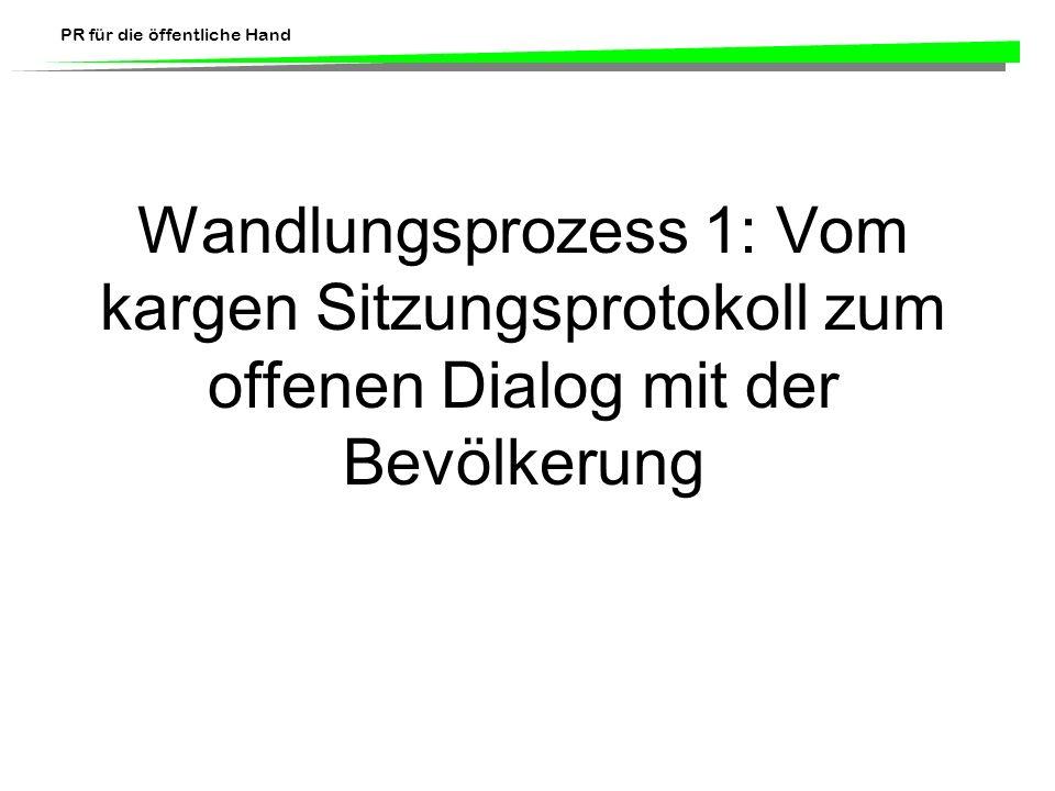 Wandlungsprozess 1: Vom kargen Sitzungsprotokoll zum offenen Dialog mit der Bevölkerung
