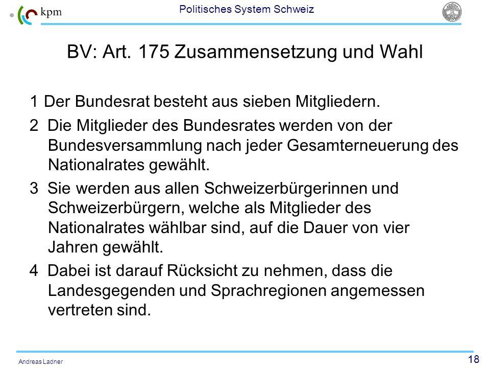 BV: Art. 175 Zusammensetzung und Wahl