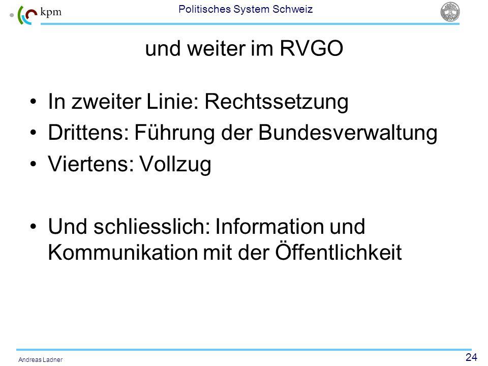 und weiter im RVGO In zweiter Linie: Rechtssetzung. Drittens: Führung der Bundesverwaltung. Viertens: Vollzug.