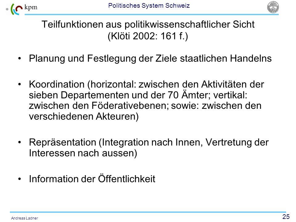 Teilfunktionen aus politikwissenschaftlicher Sicht (Klöti 2002: 161 f