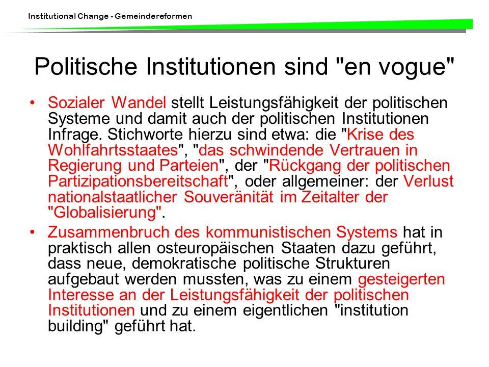 Politische Institutionen sind en vogue