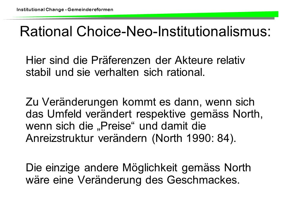 Rational Choice-Neo-Institutionalismus: