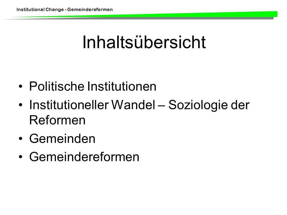 Inhaltsübersicht Politische Institutionen