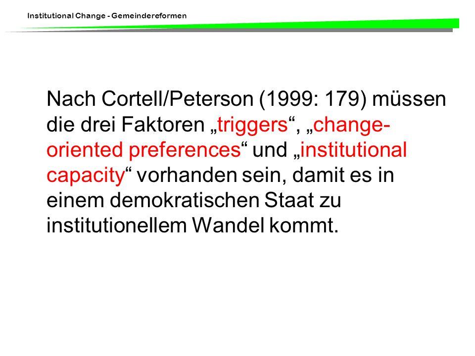 """Nach Cortell/Peterson (1999: 179) müssen die drei Faktoren """"triggers , """"change-oriented preferences und """"institutional capacity vorhanden sein, damit es in einem demokratischen Staat zu institutionellem Wandel kommt."""
