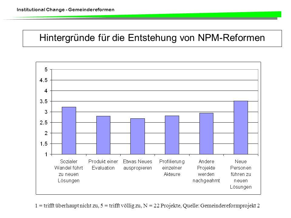 Hintergründe für die Entstehung von NPM-Reformen