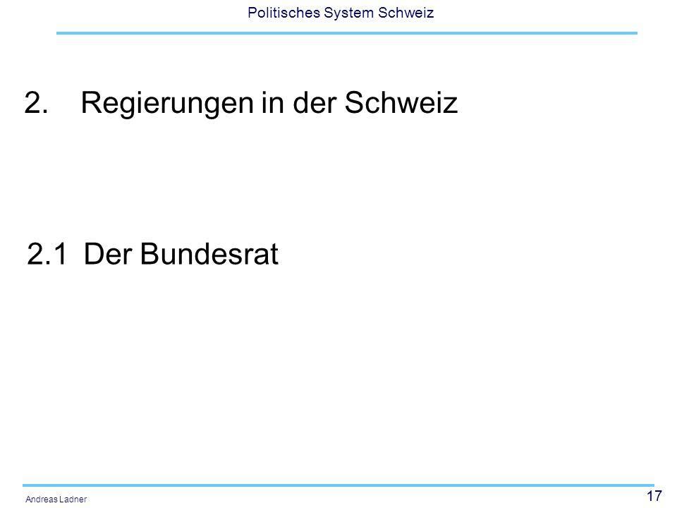 2. Regierungen in der Schweiz