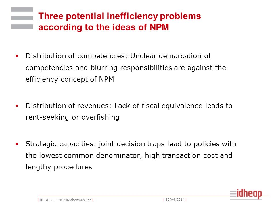 Three potential inefficiency problems according to the ideas of NPM