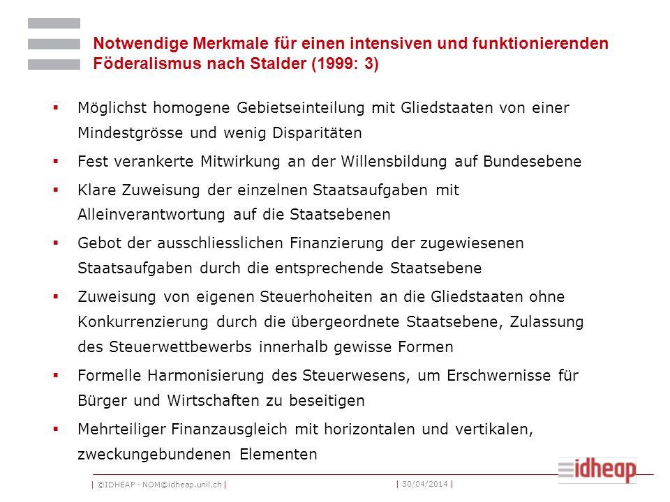 Notwendige Merkmale für einen intensiven und funktionierenden Föderalismus nach Stalder (1999: 3)