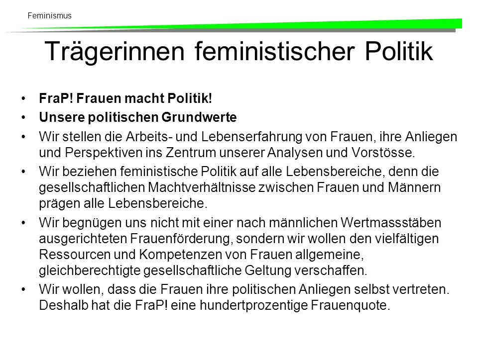 Trägerinnen feministischer Politik