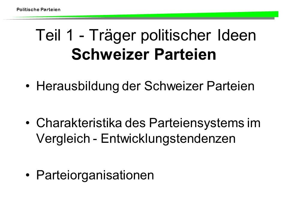 Teil 1 - Träger politischer Ideen Schweizer Parteien