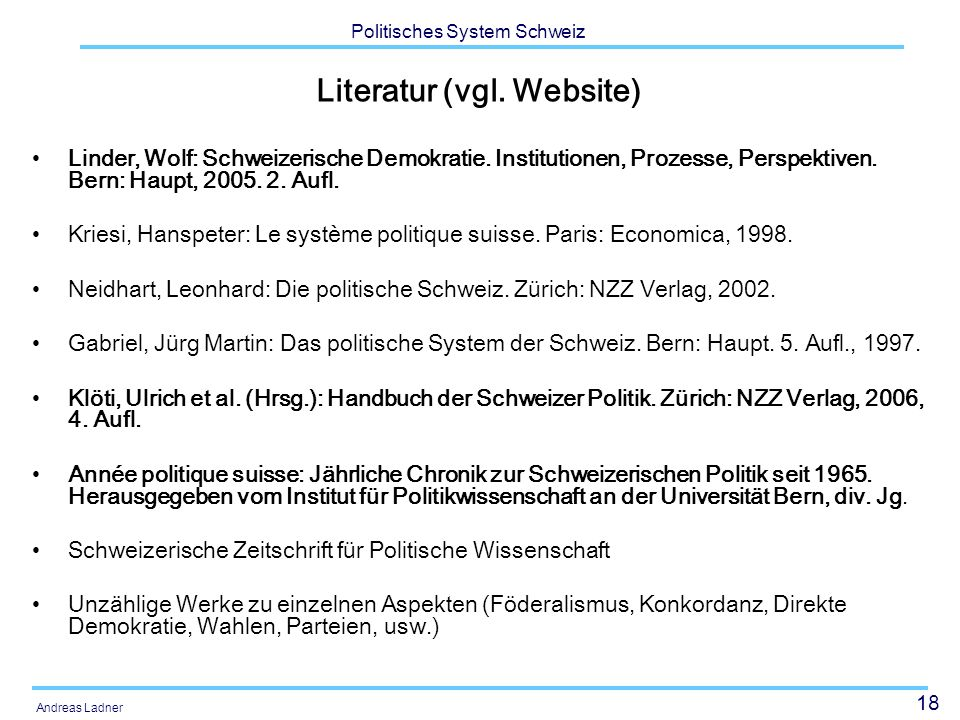 Literatur (vgl. Website)
