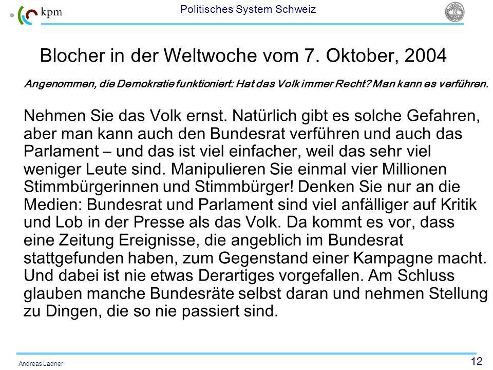 Blocher in der Weltwoche vom 7. Oktober, 2004