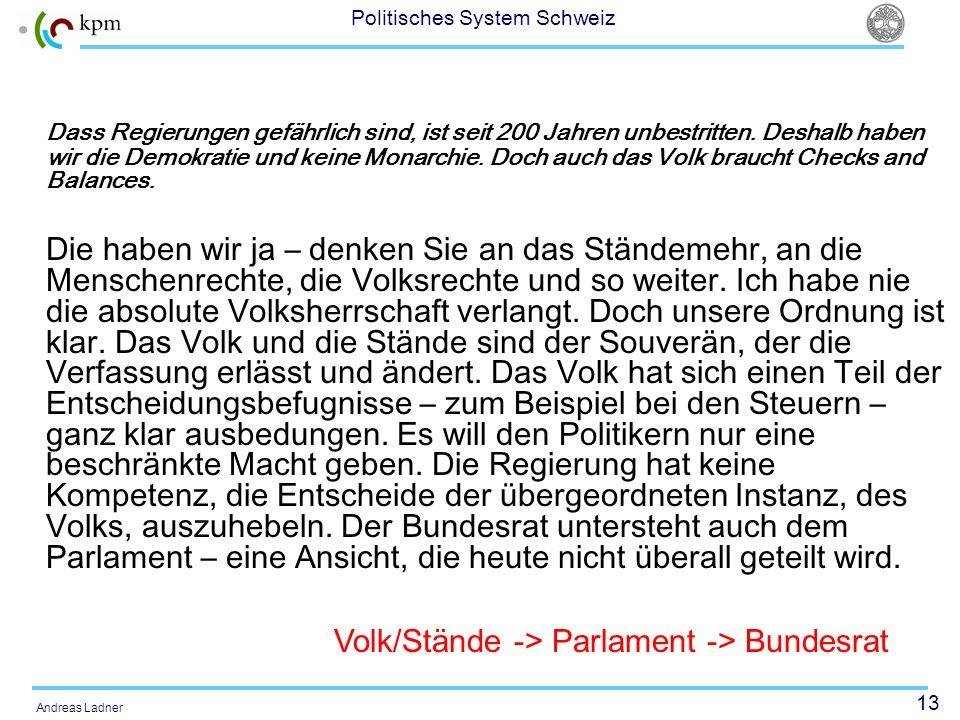 Volk/Stände -> Parlament -> Bundesrat