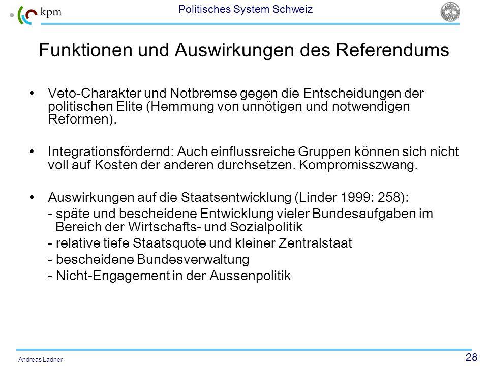 Funktionen und Auswirkungen des Referendums