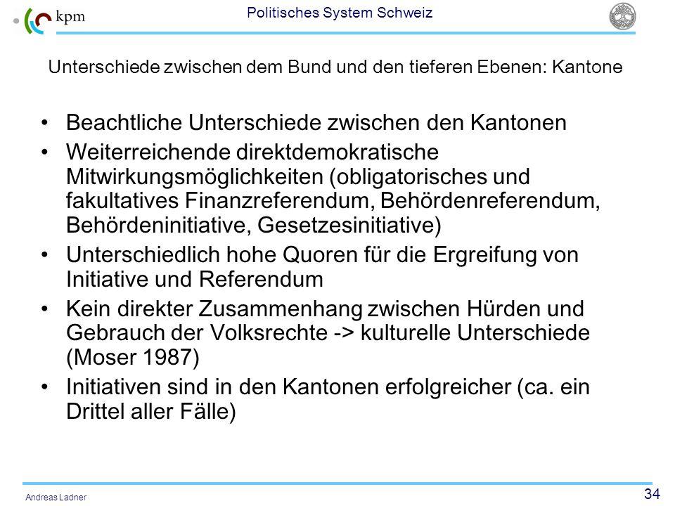 Unterschiede zwischen dem Bund und den tieferen Ebenen: Kantone