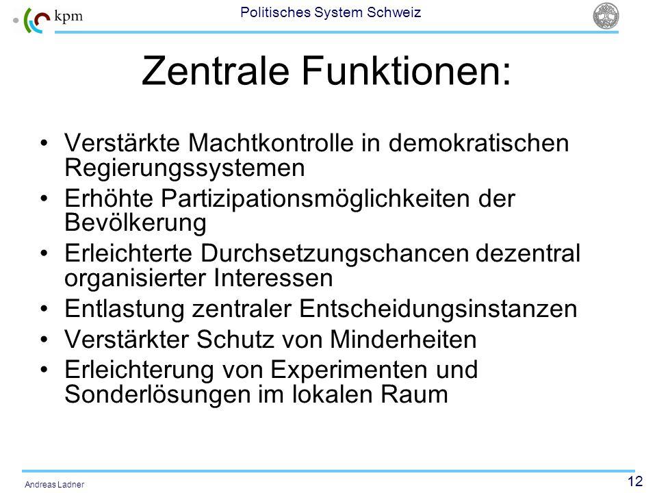 Zentrale Funktionen: Verstärkte Machtkontrolle in demokratischen Regierungssystemen. Erhöhte Partizipationsmöglichkeiten der Bevölkerung.