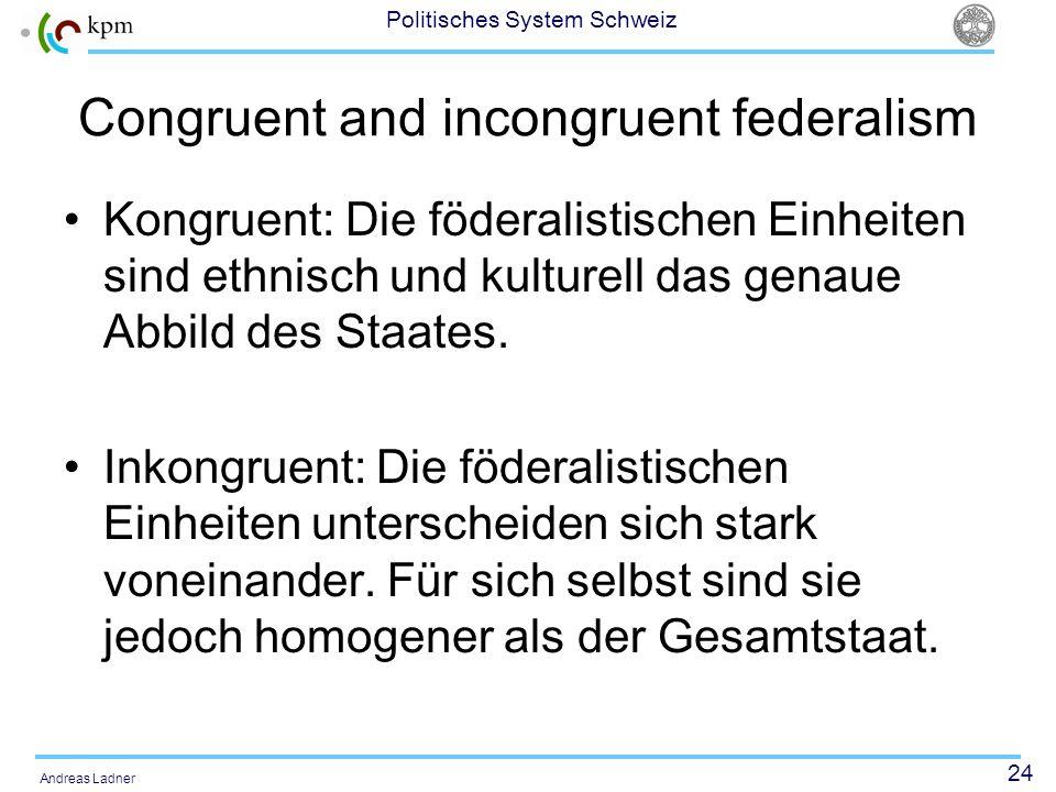 Congruent and incongruent federalism