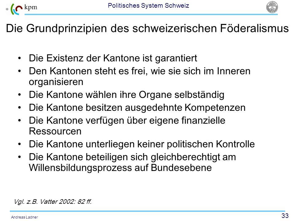 Die Grundprinzipien des schweizerischen Föderalismus