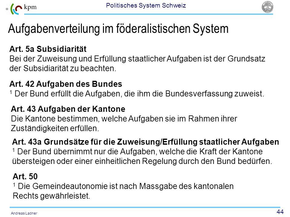 Aufgabenverteilung im föderalistischen System