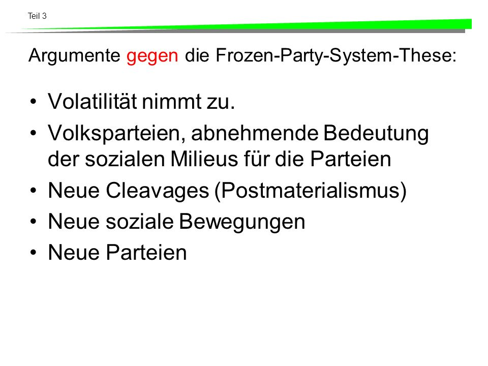 Argumente gegen die Frozen-Party-System-These: