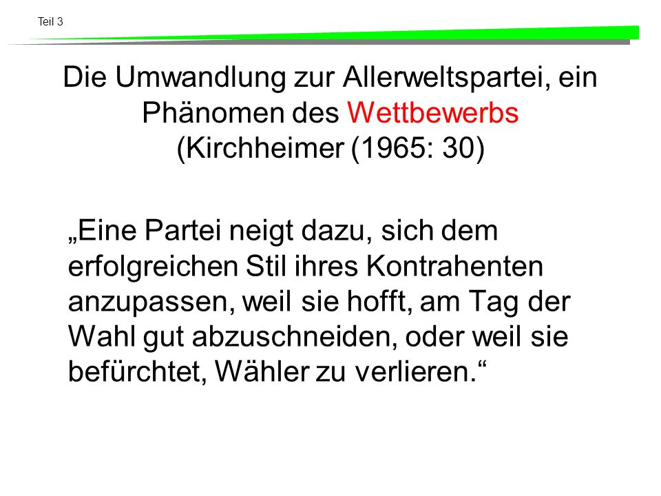 Die Umwandlung zur Allerweltspartei, ein Phänomen des Wettbewerbs (Kirchheimer (1965: 30)