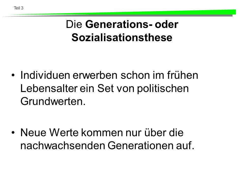 Die Generations- oder Sozialisationsthese
