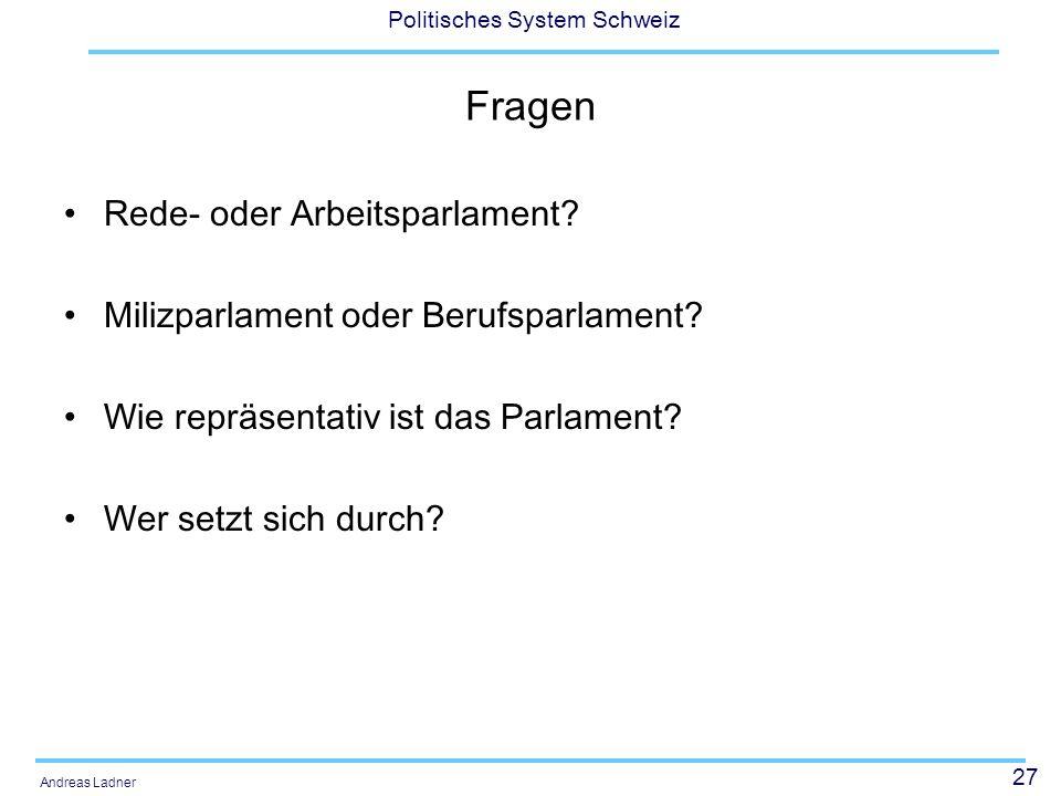 Fragen Rede- oder Arbeitsparlament