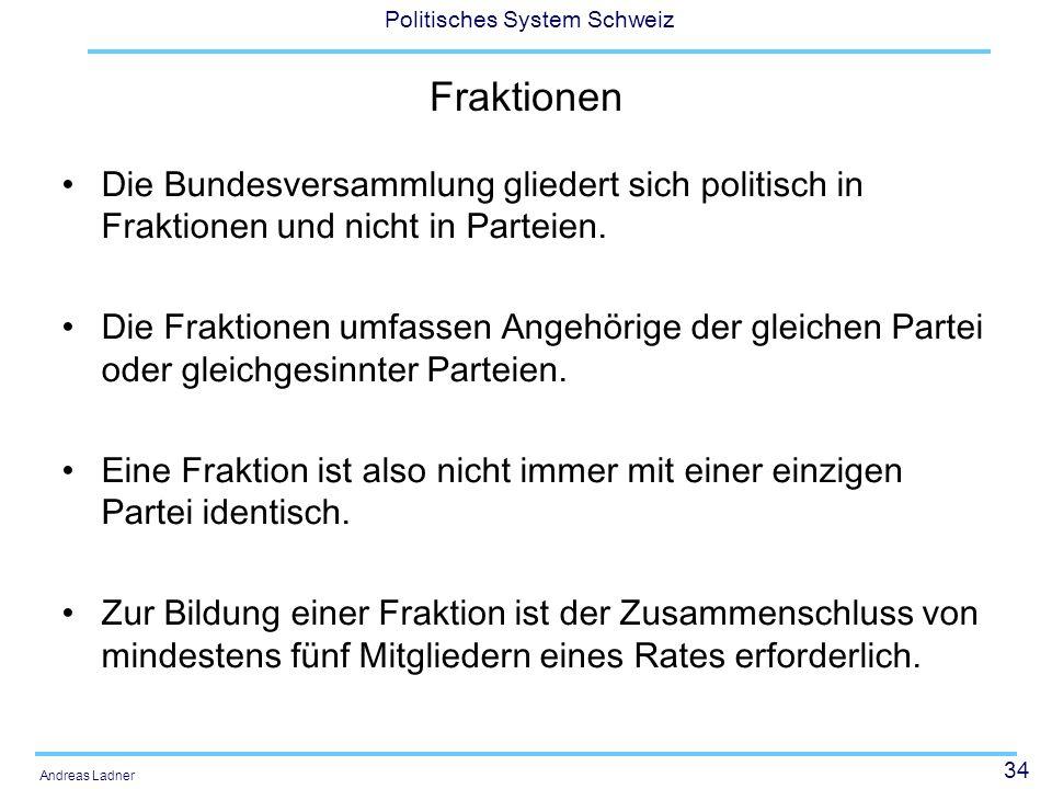Fraktionen Die Bundesversammlung gliedert sich politisch in Fraktionen und nicht in Parteien.